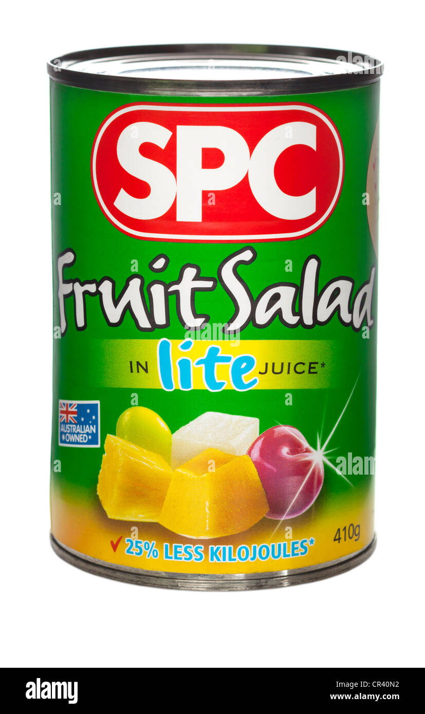 A can of SPC Fruit Salad in Lite Juice - Stock Image