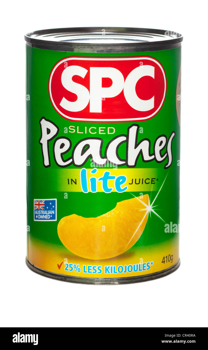 A can of SPC Sliced Peaches in Lite Juice. - Stock Image
