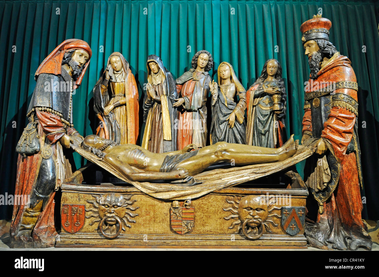 Entombment of Jesus, group of sculptures, Abbaye Saint-Pierre de Moissac abbey church, Via Podiensis or Chemin de - Stock Image