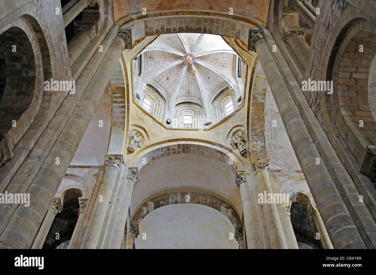 Abbataille Sainte Foy abbey church, Via Podiensis or Chemin de St-Jacques or French Way of St. James, UNESCO World - Stock Image