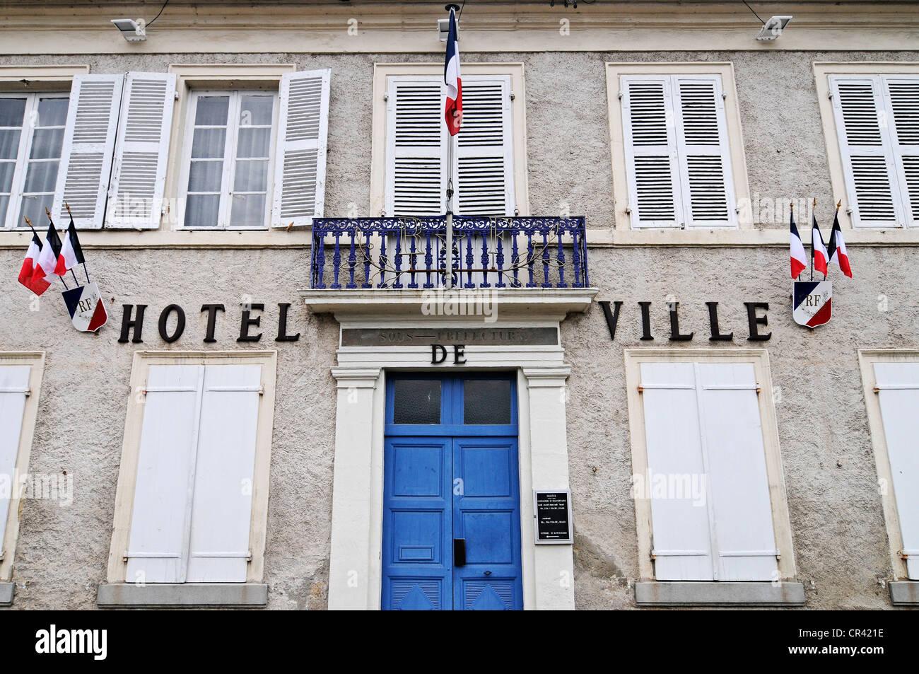 Hotel de Ville, town hall, Lapalisse, Auvergne, France, Europe - Stock Image