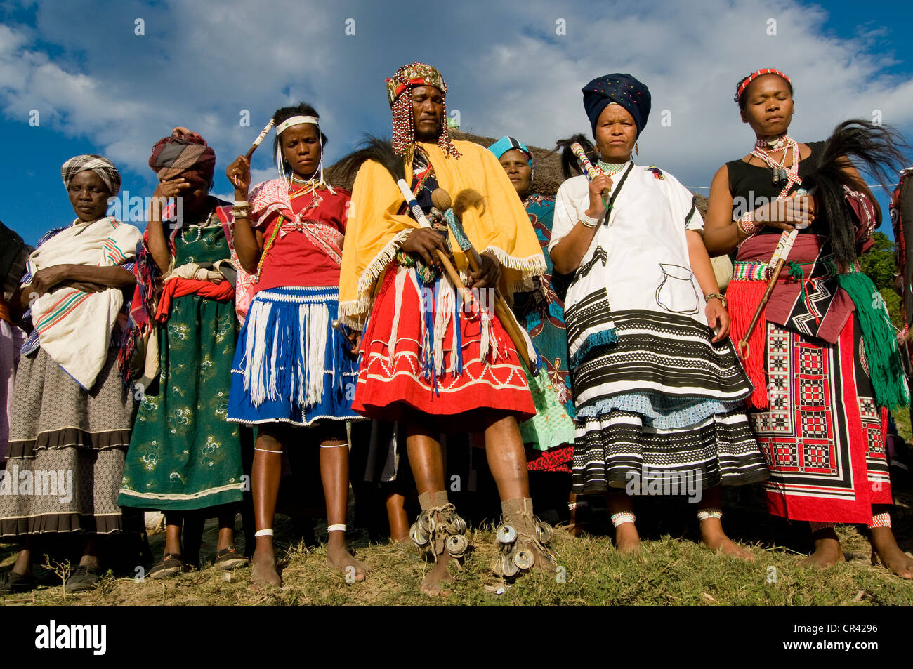 Traditionally Dressed Xhosa People During The Sangoma Or