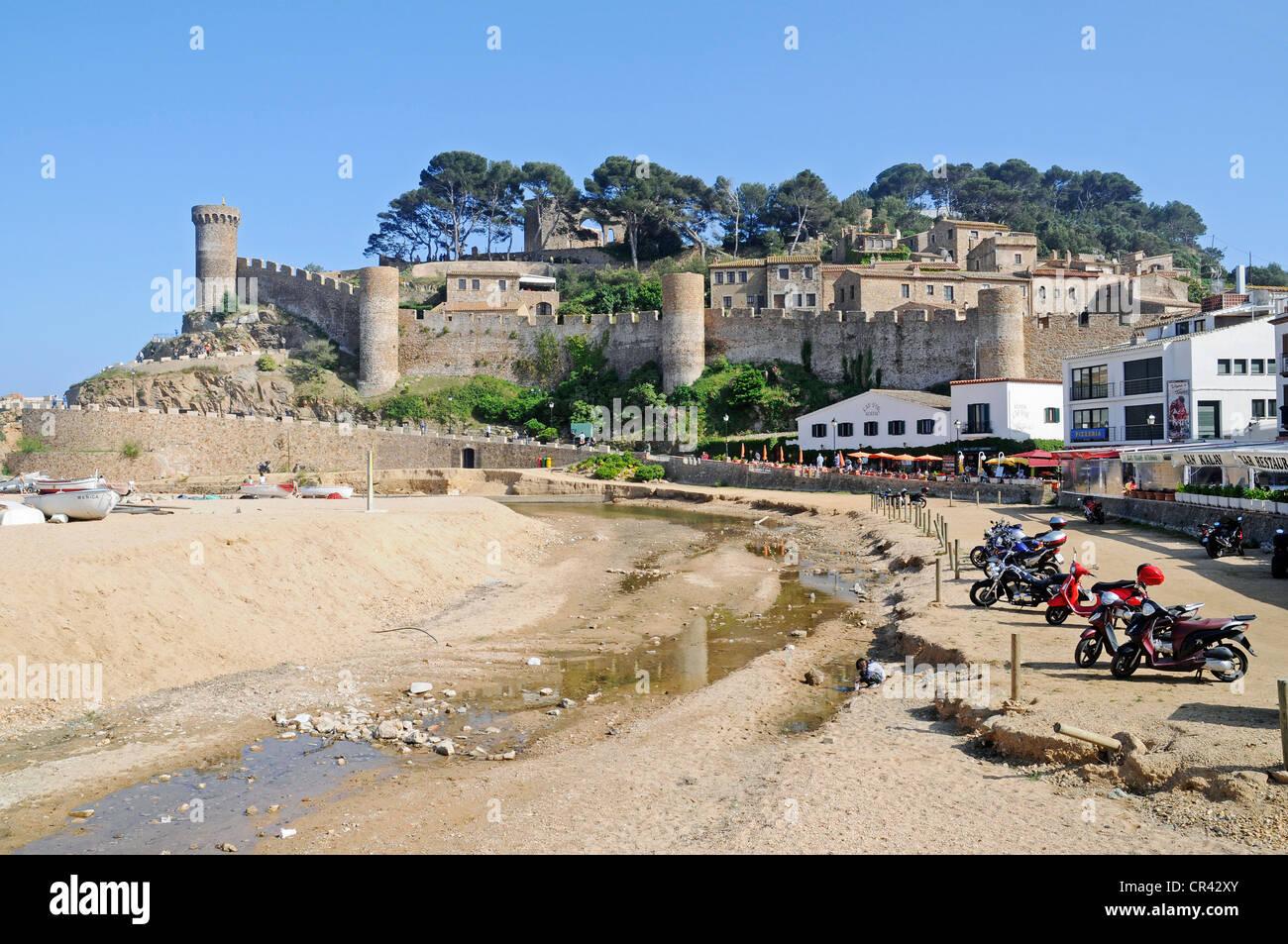 Castle Villa Vella, old town, coastal village Tossa de Mar, Costa Brava, Catalonia, Spain, Europe - Stock Image