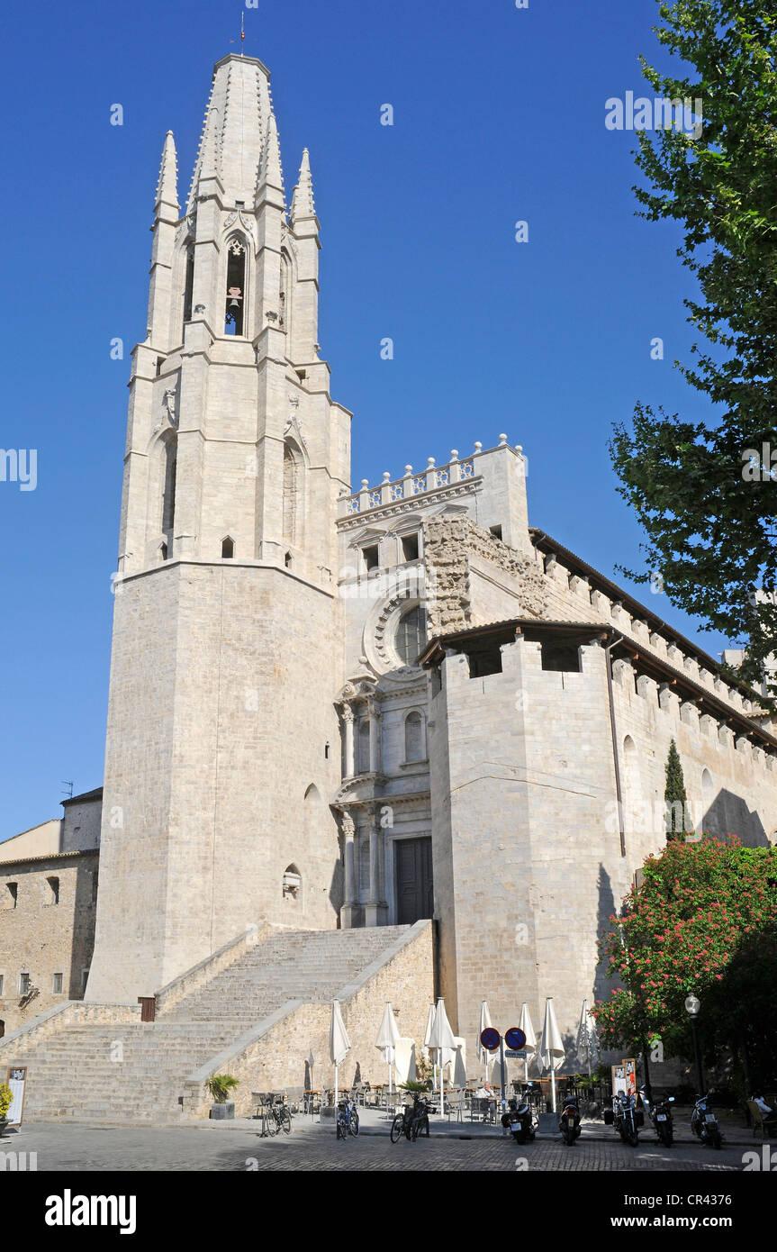 Church of Sant Feliu, Girona, Catalonia, Spain, Europe Stock Photo