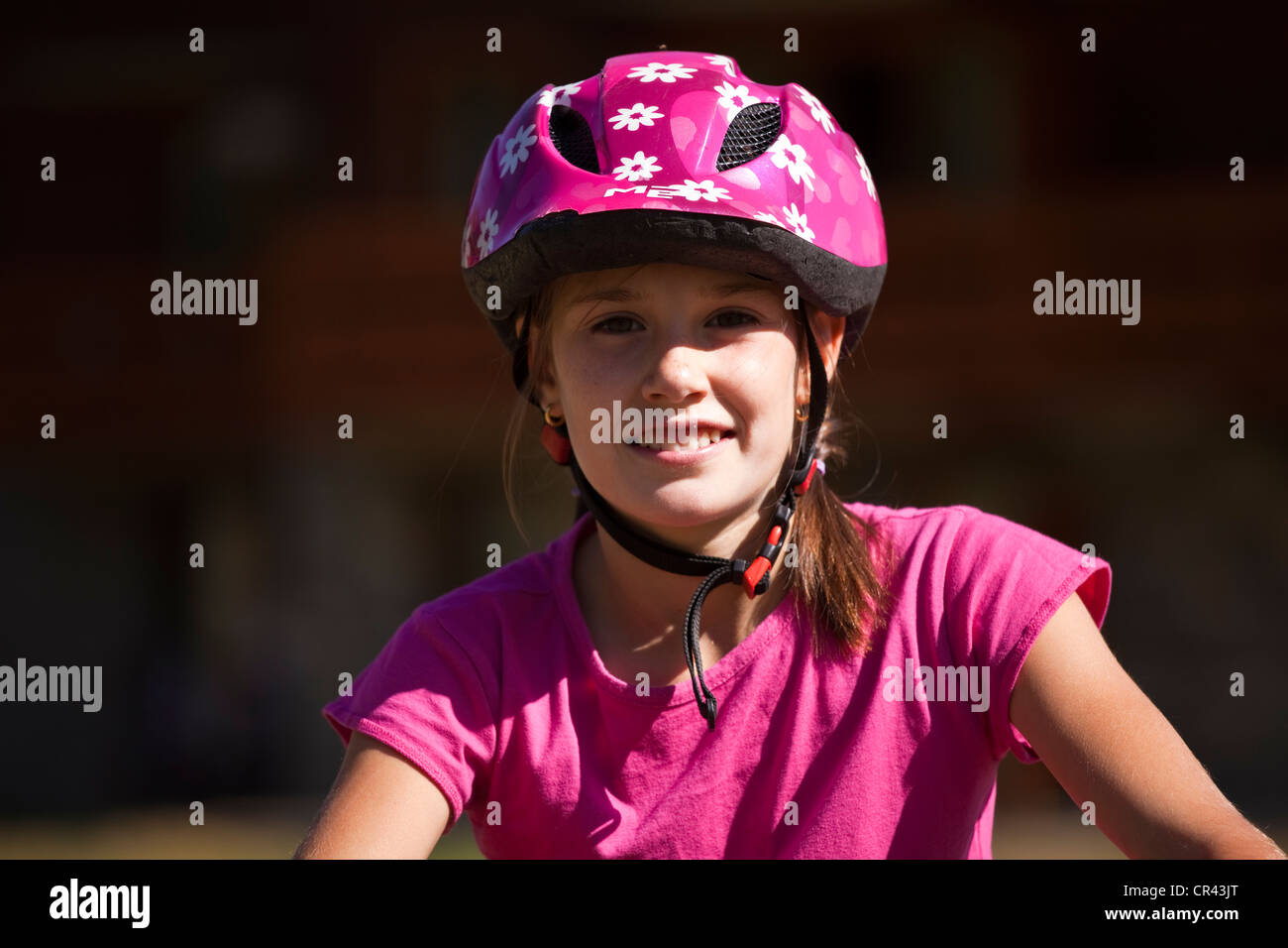 France, Savoie, Valmorel, portrait with mountain bike gear - Stock Image