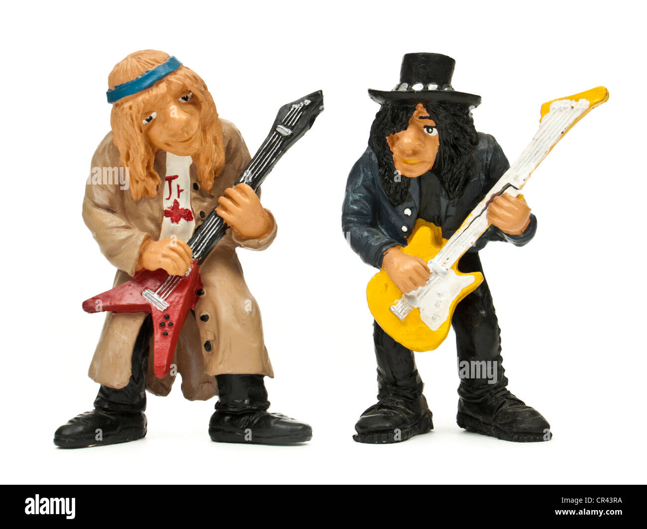 Miniature rock guitarists - Stock Image
