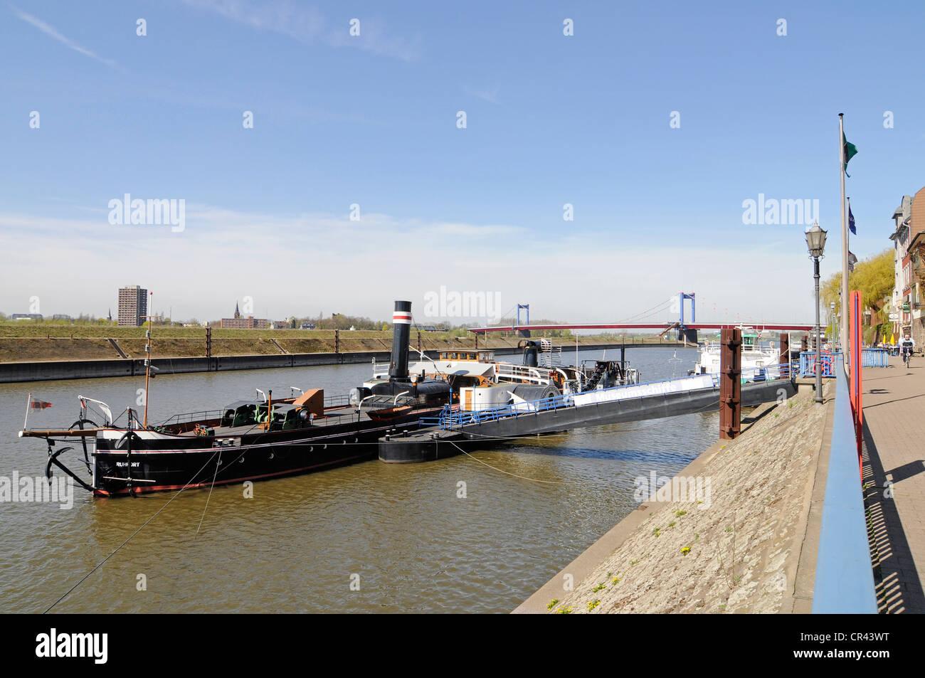 Museum ship, promenade, Museum of German inland shipping, harbour, Duisport, Duisburg, Ruhrgebiet region, North - Stock Image