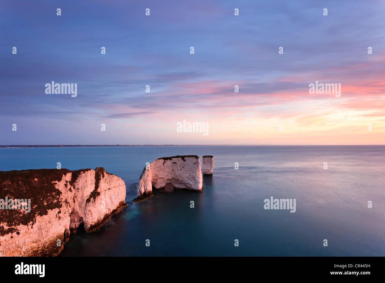 Sunrise at Old Harry Rocks, Swanage, Dorset, UK - Stock Image