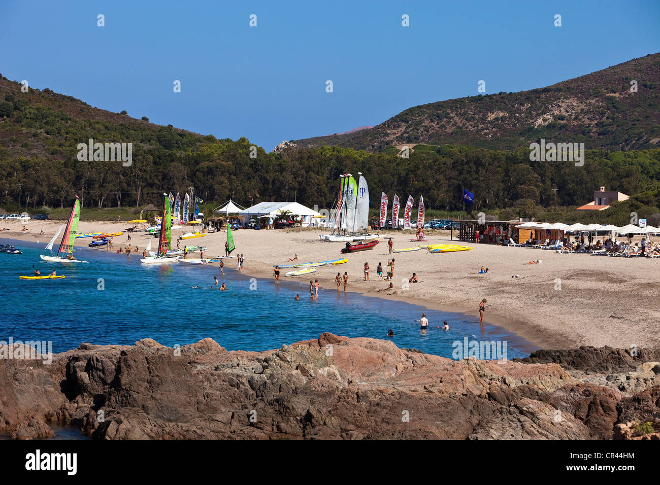 France, Corse du Sud, Club Med on Chiuni beach at Cargese - Stock Image