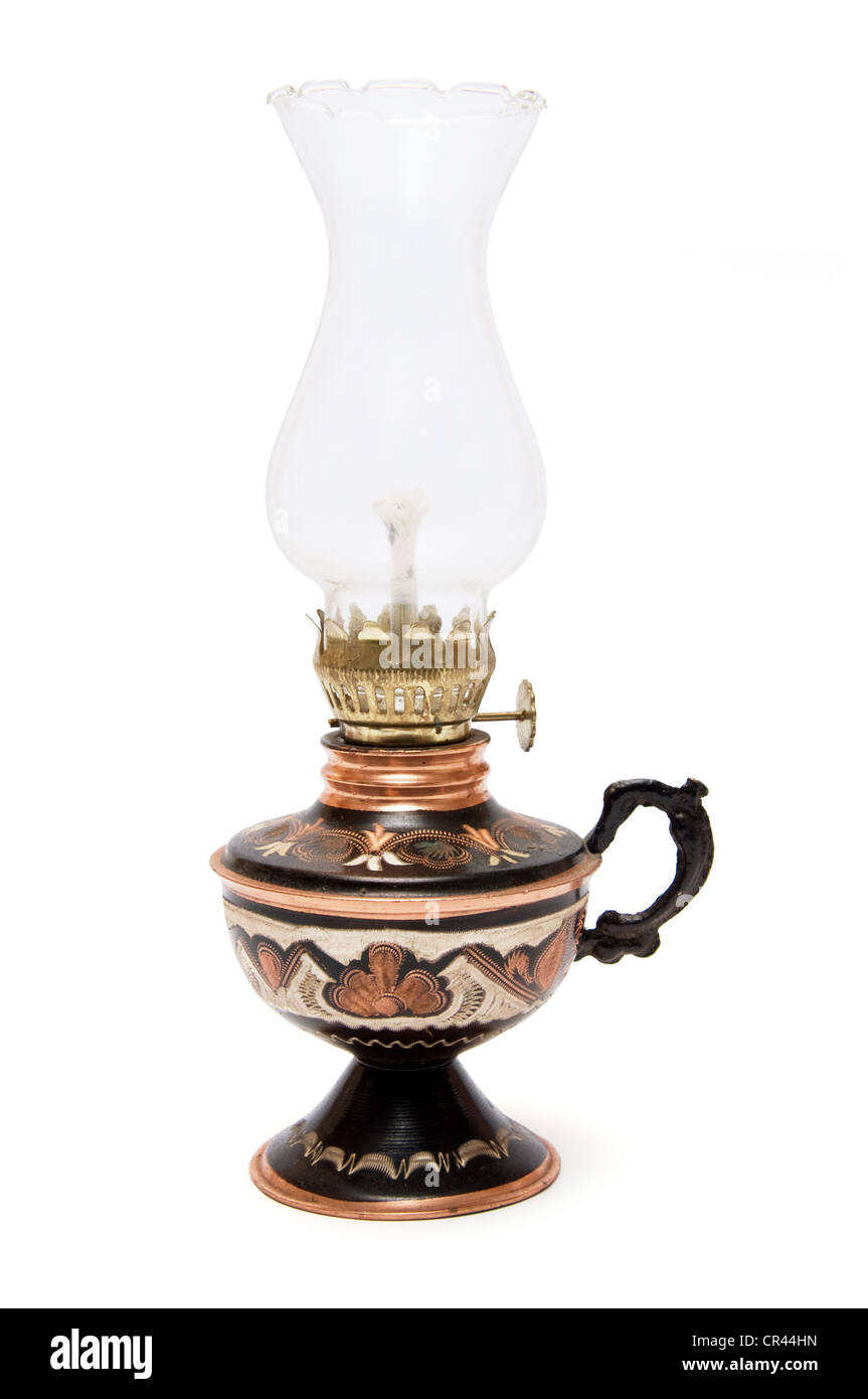 Turkish souvenir oil lamp isolated on a white background - Stock Image