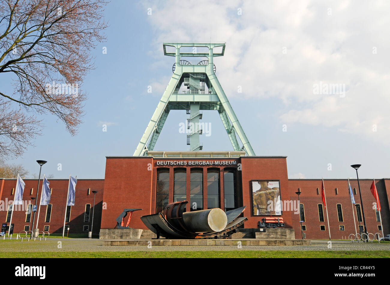 Headframe or winding tower, German Mining Museum, Bochum, Ruhr Area, North Rhine-Westphalia, Germany, Europe - Stock Image