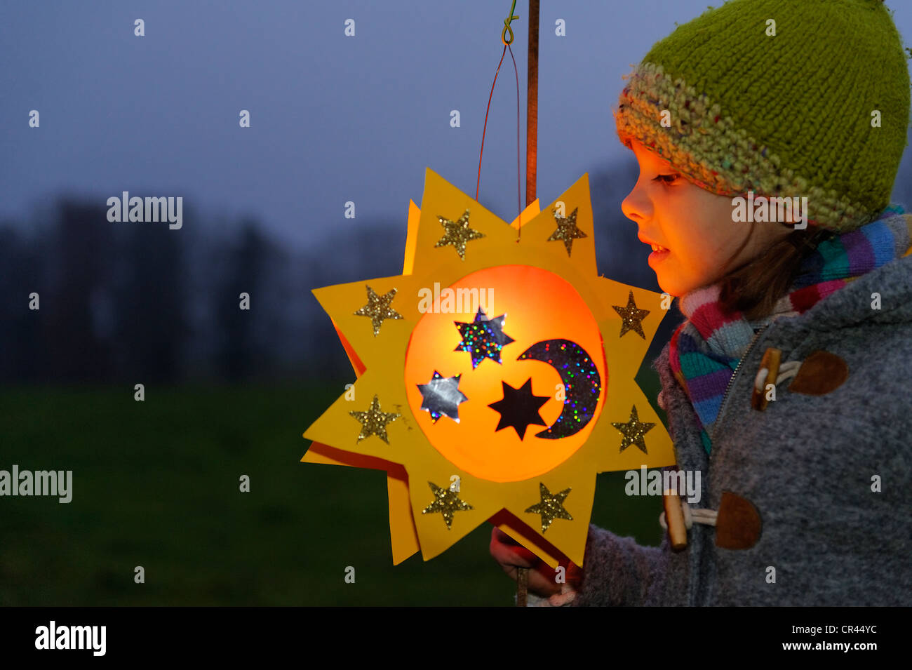Girl with a lantern at a St. Martin's parade, lantern procession, St. Martin's Day, Pfaffenwinkel, Bavaria, - Stock Image