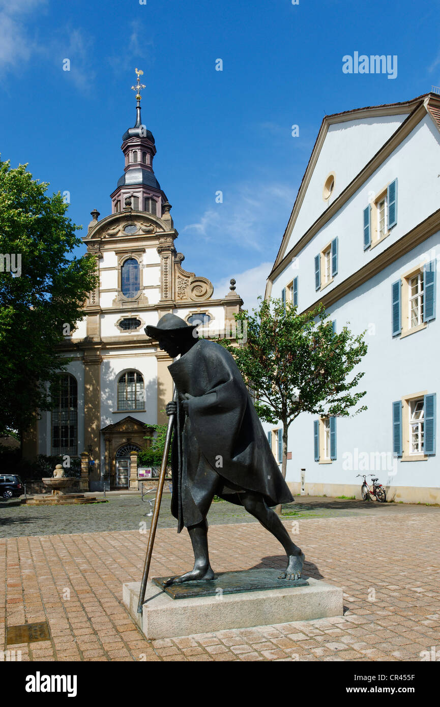 Dreifaltigkeitskirche church and memorial for pilgrims on the Way of St. James, Speyer, Rhineland-Palatinate, Germany, - Stock Image