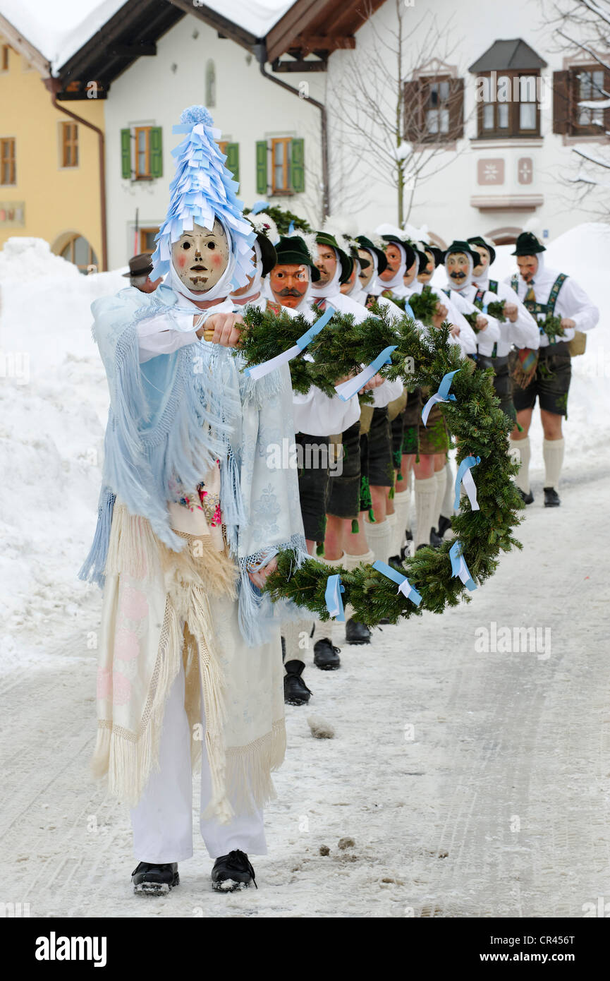 Men with bells, traditional carnival costumes, carnival parade, Maschkera, Mittenwald, Werdenfelser Land, Upper - Stock Image