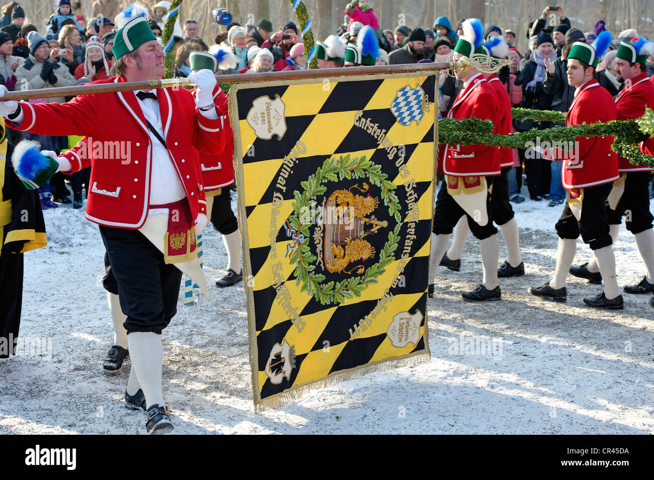 Schaefflertanz, traditional dance of the coopers, Flaucher area, Munich, Upper Bavaria, Germany, Europe - Stock Image