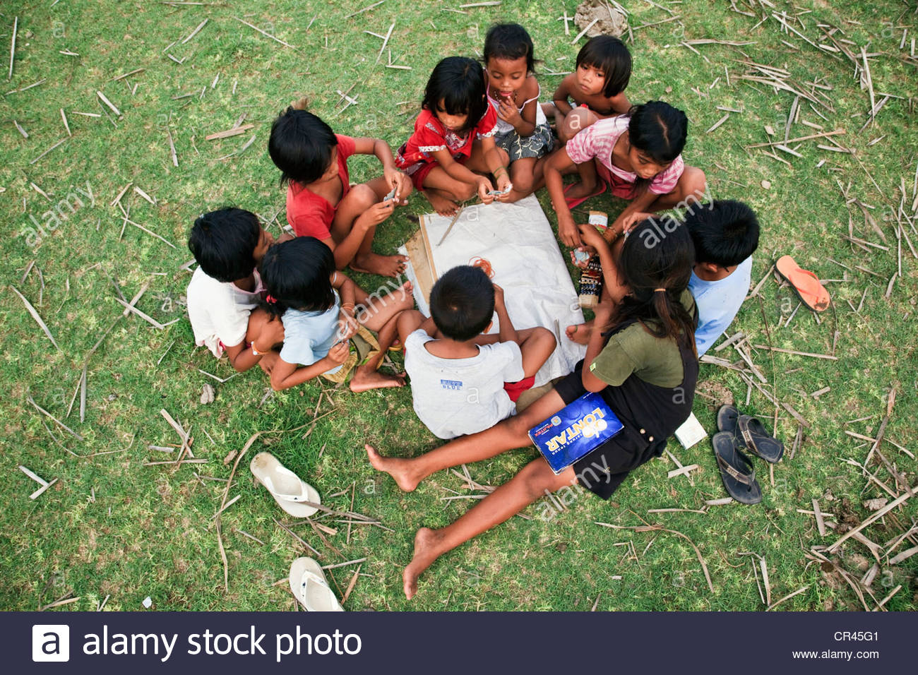 Children playing, developing country, Lombok, Indonesia, Southeast Asia - Stock Image