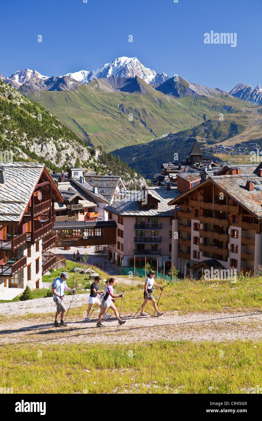 France, Savoie, Les Arcs 1950, view on Mont Blanc (4810m) - Stock Image