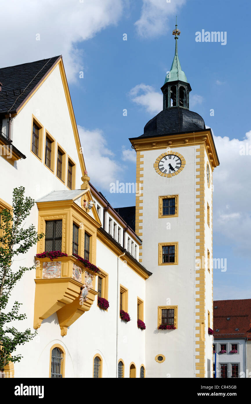 Town hall, Obermarkt, Freiberg, Saxony, Germany, Europe - Stock Image