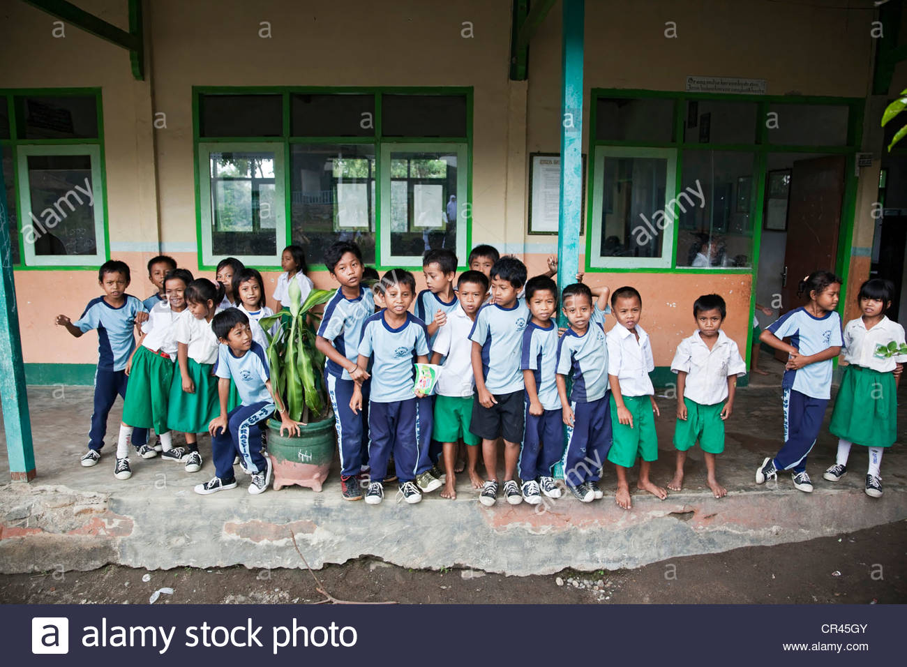 School children, developing country, Lombok, Indonesia, Southeast Asia - Stock Image