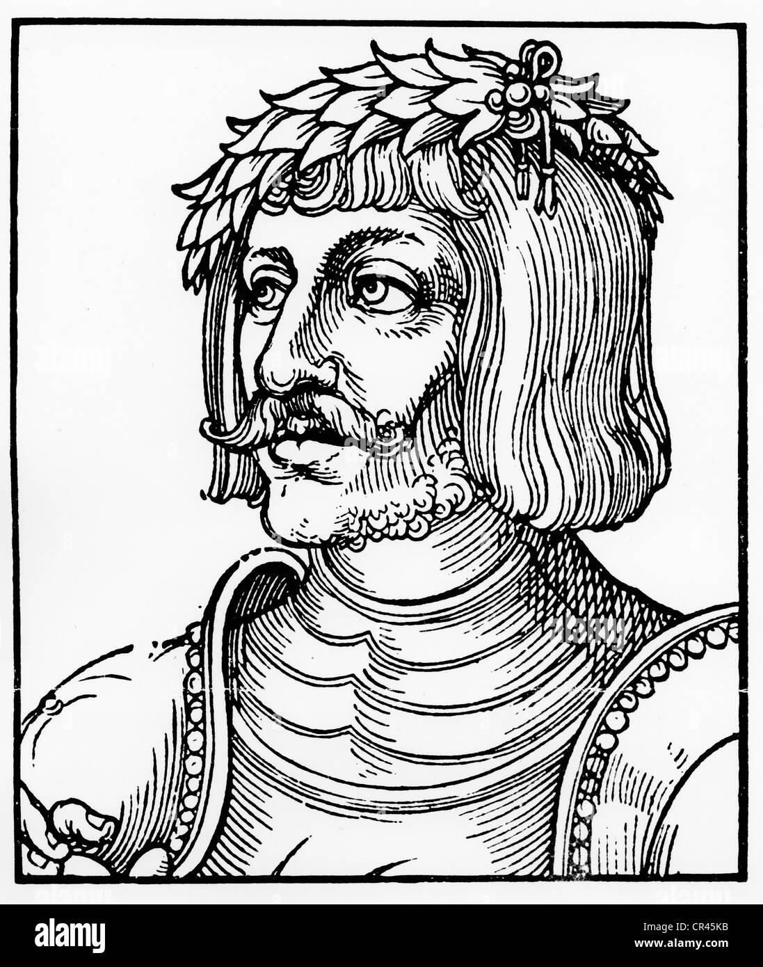 Ulrich von Hutten, 1488-1523, historical wood carving by Erhard Schoen, ca. 1522 - Stock Image