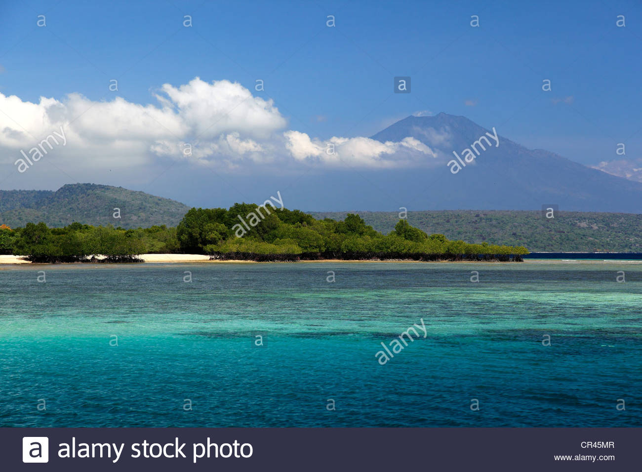 North coast of Bali facing Java, volcanoes, Indonesia, Southeast Asia - Stock Image