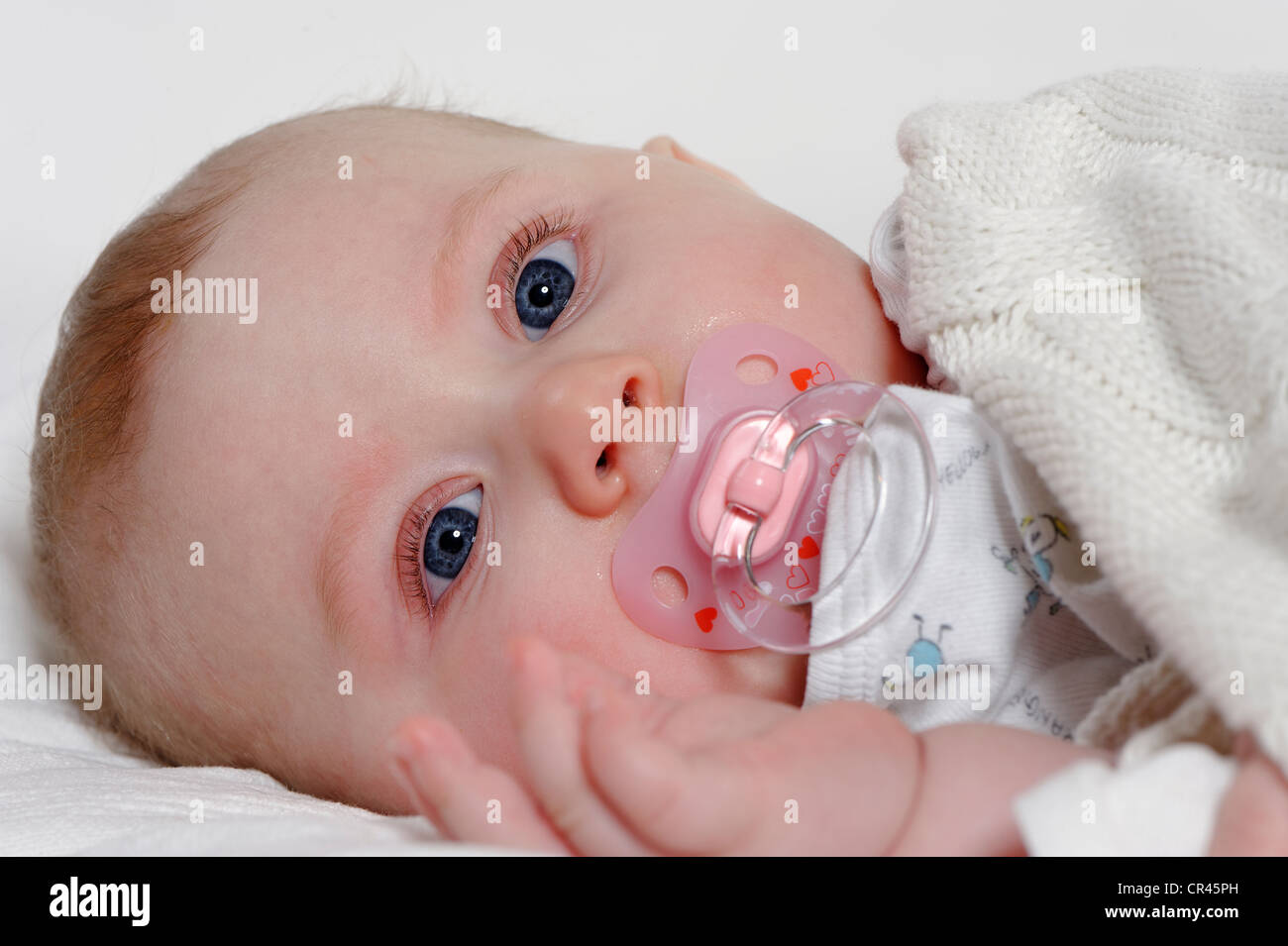 Baby, 6 months, with a dummy - Stock Image