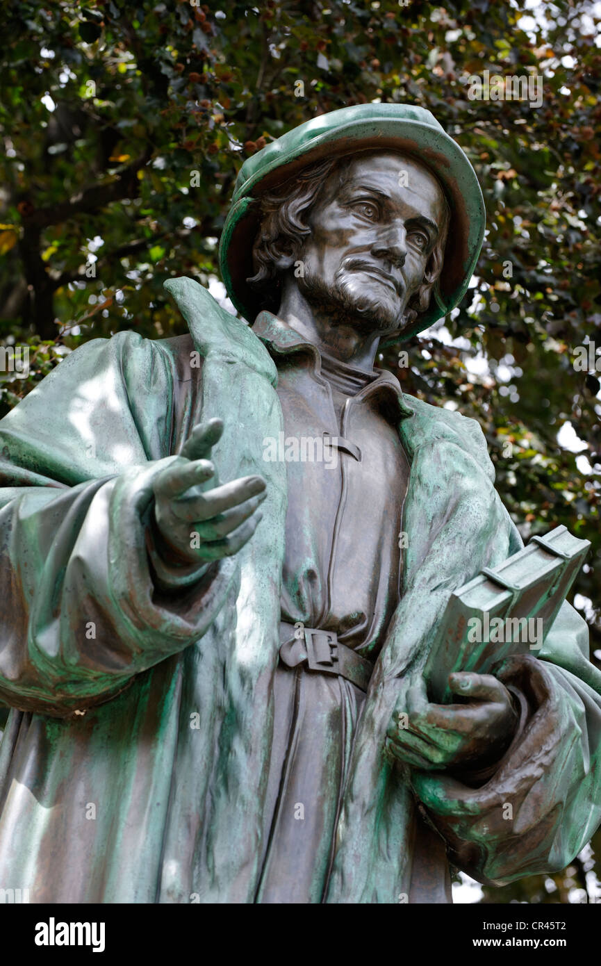 Statue of Philipp Melanchthon, Luther Monument by Ernst Rietschel, Worms, Rhineland-Palatinate, Germany, Europe - Stock Image