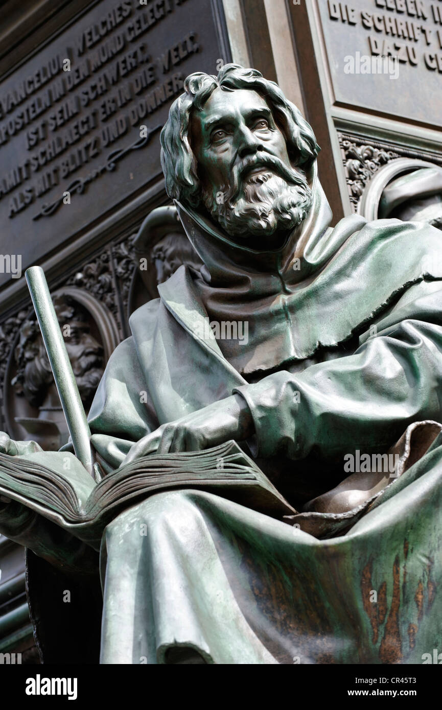 Statue of Petrus Waldus, Luther Monument by Ernst Rietschel, Worms, Rhineland-Palatinate, Germany, Europe - Stock Image