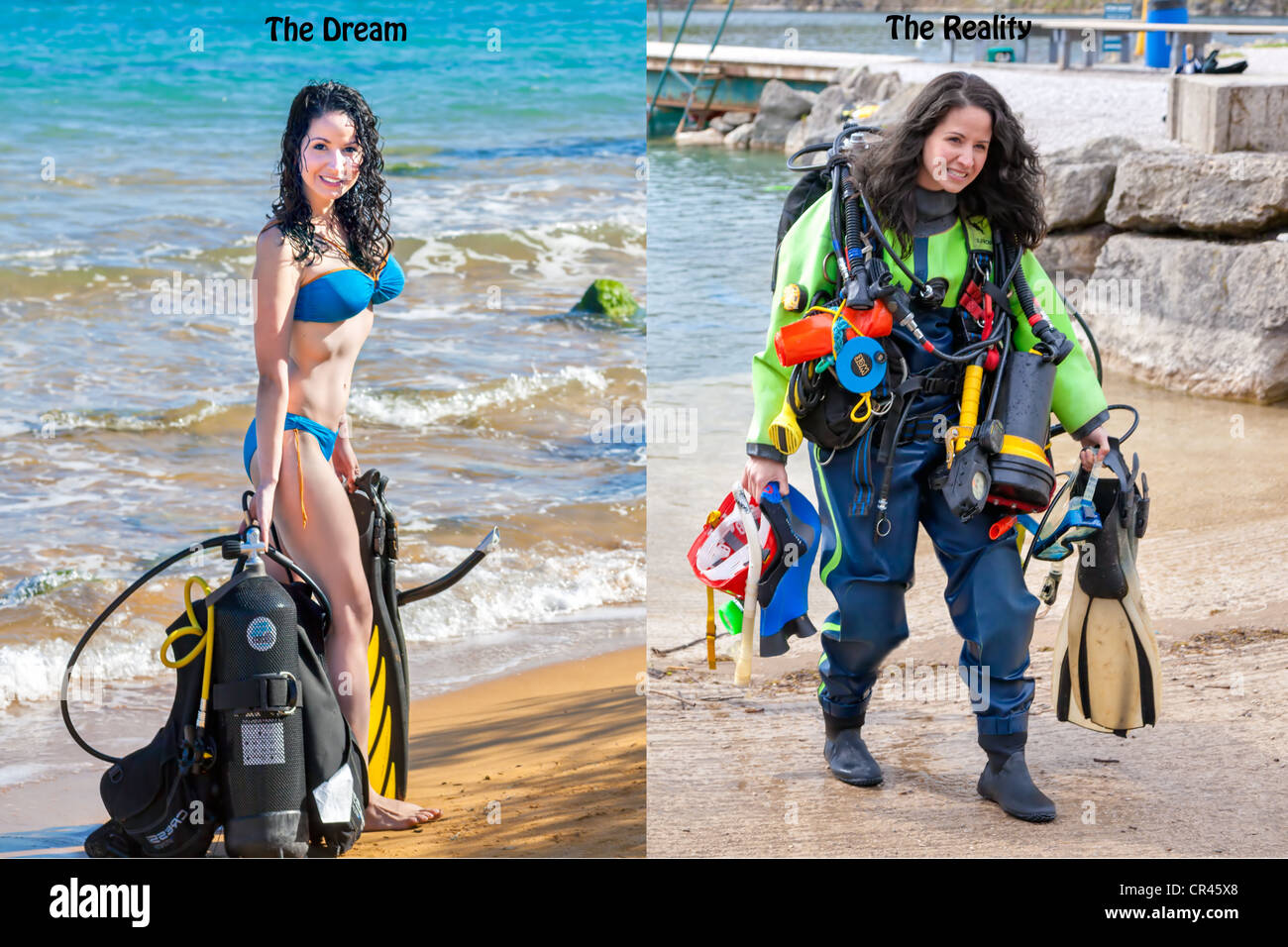 A beautiful girl shows the contrast between The Dream and The Reality of scuba diving expectations in a humorous Stock Photo
