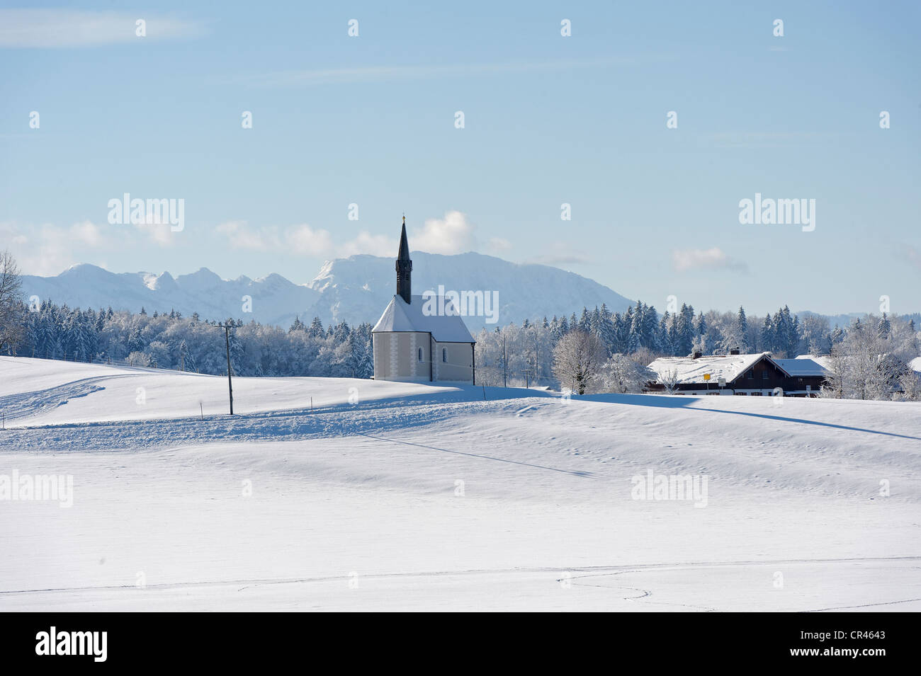 St. Sebastian daughter church, Kleinhartpenning, Mount Benediktenwand at back, Holzkirchen, Upper Bavaria, Bavaria - Stock Image