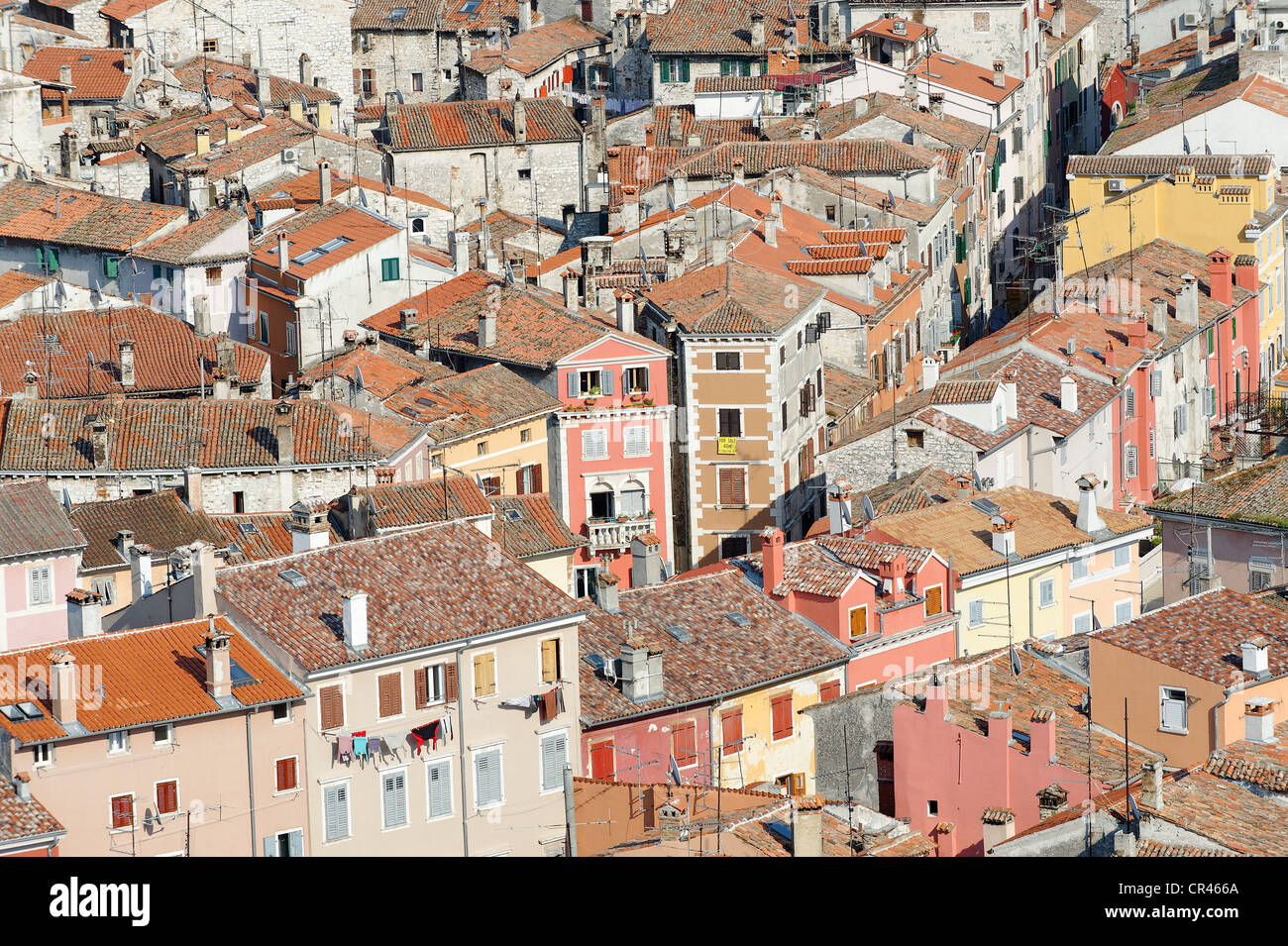View across the rooftops of Rovinj, Istria, Croatia, Europe - Stock Image