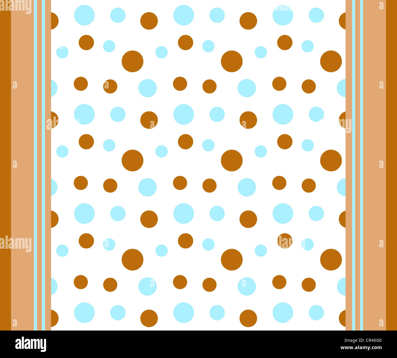 Funky dots and stripes pattern in blue, brown and white Stock Photo