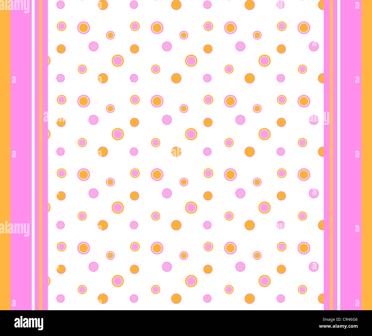 Polka dots and stripes pattern in bright orange and pink colors Stock Photo