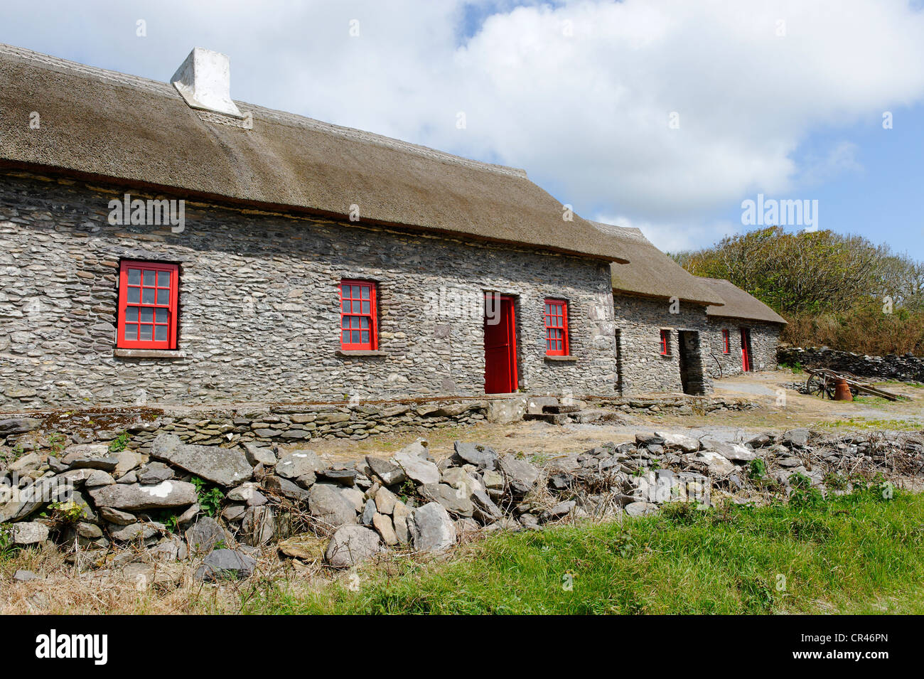 Famine Cottages, museum, Dingle Peninsula, County Kerry, Ireland, Europe - Stock Image