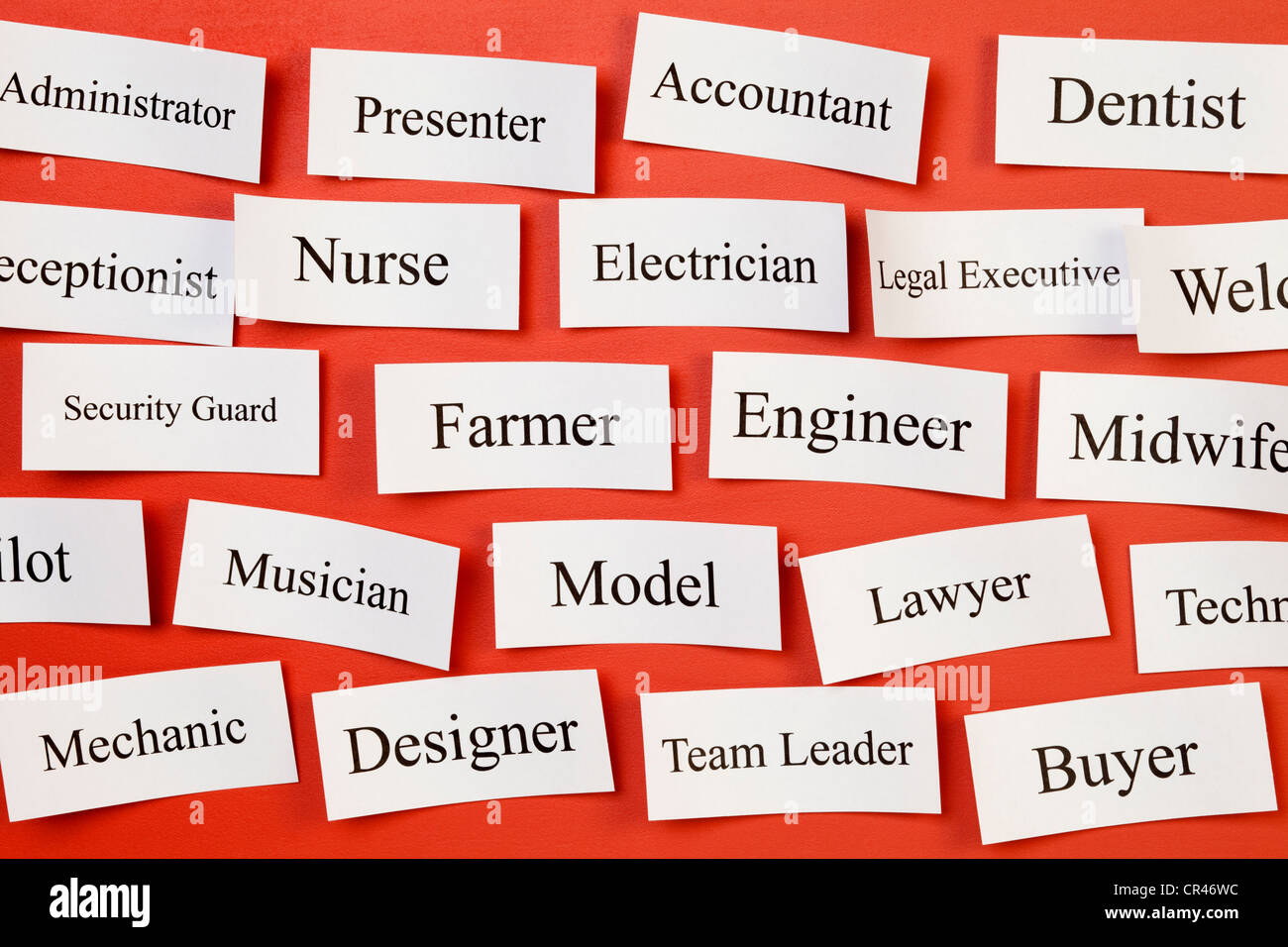 Career choices on a board, concept for choosing career, recruitment, situation vacant. Stock Photo