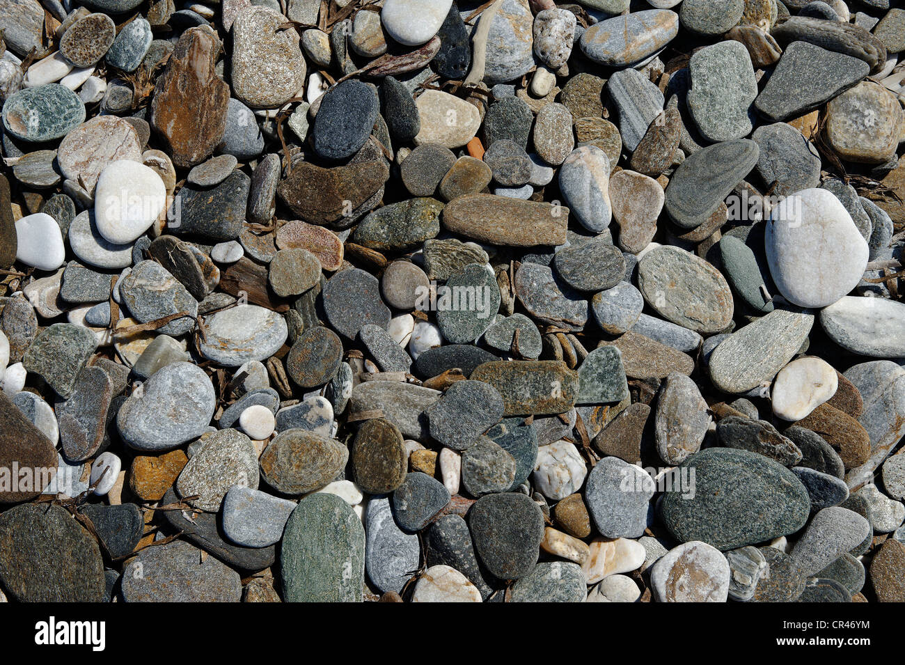 Pebbles, Konstantinos on the north coast of Samos island, southern Sporades, Aegean sea, Greece, Europe - Stock Image