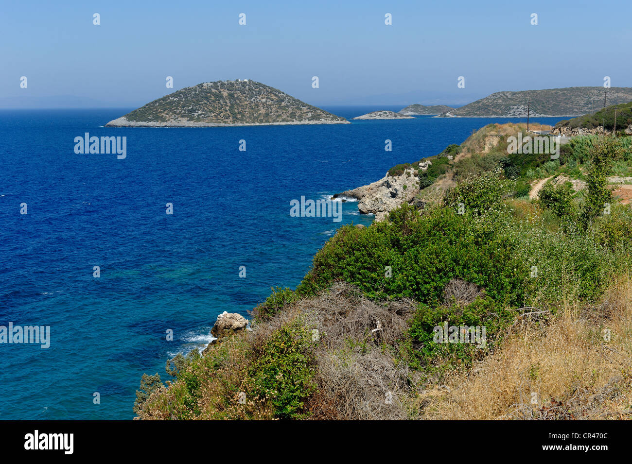 Nisida Atios Nikolaos island, bay of Asprochorti, Samos island, southern Sporades, Aegean sea, Greece, Europe - Stock Image