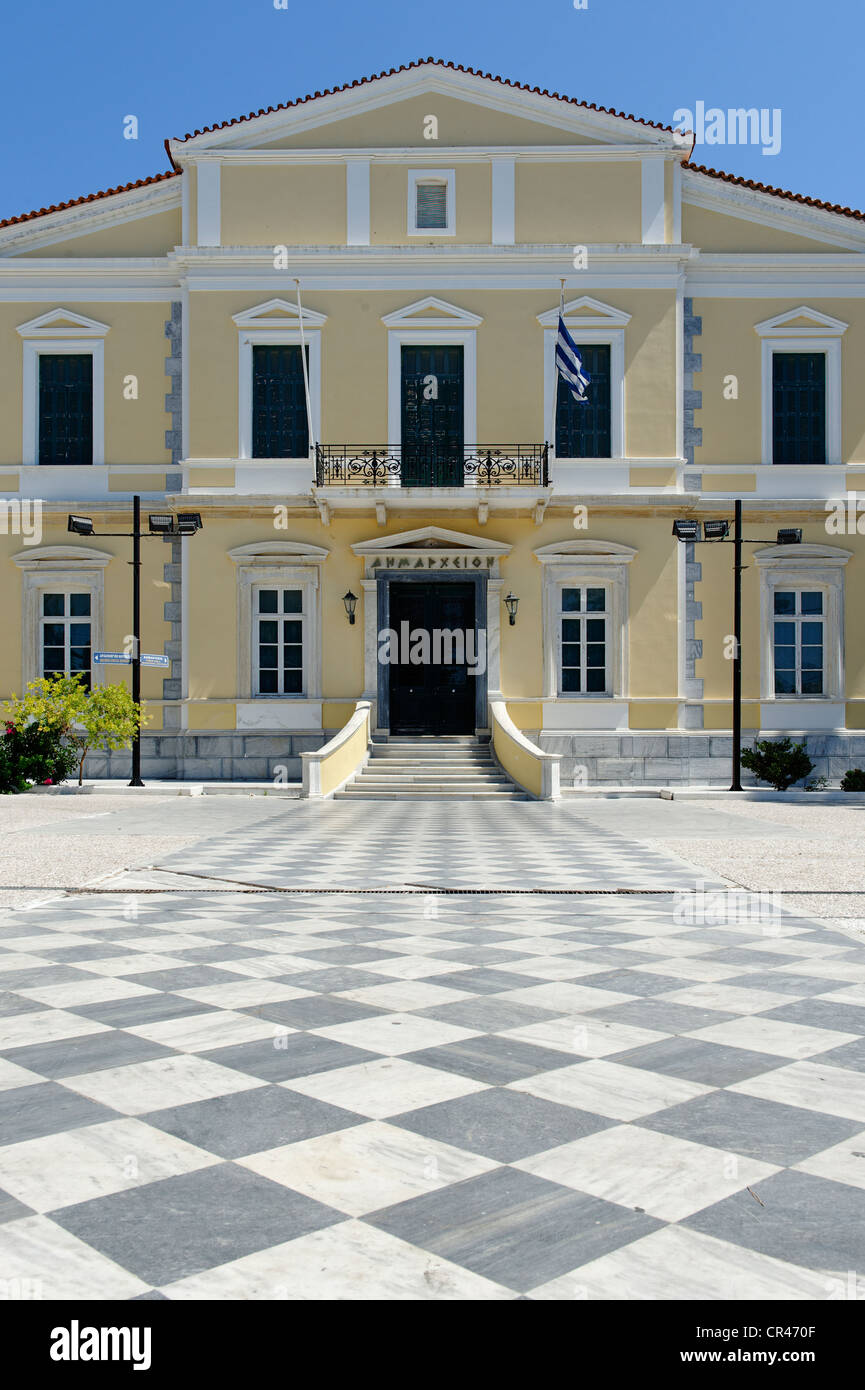 City hall, Samos city, Samos island, southern Sporades, Aegean sea, Greece, Europe - Stock Image
