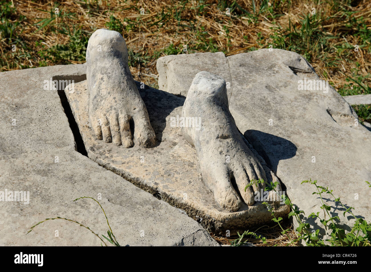 Feet, remains of a Kouros, excavations of the Heraion or sanctuary to the goddess Hera, UNESCO World Heritage Site, - Stock Image