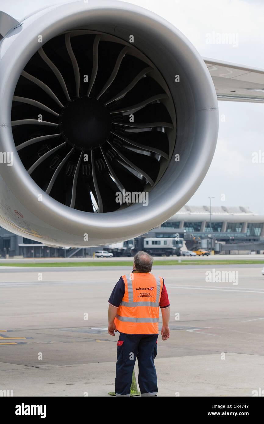 A Lufthansa Boeing 747-8 engine. - Stock Image