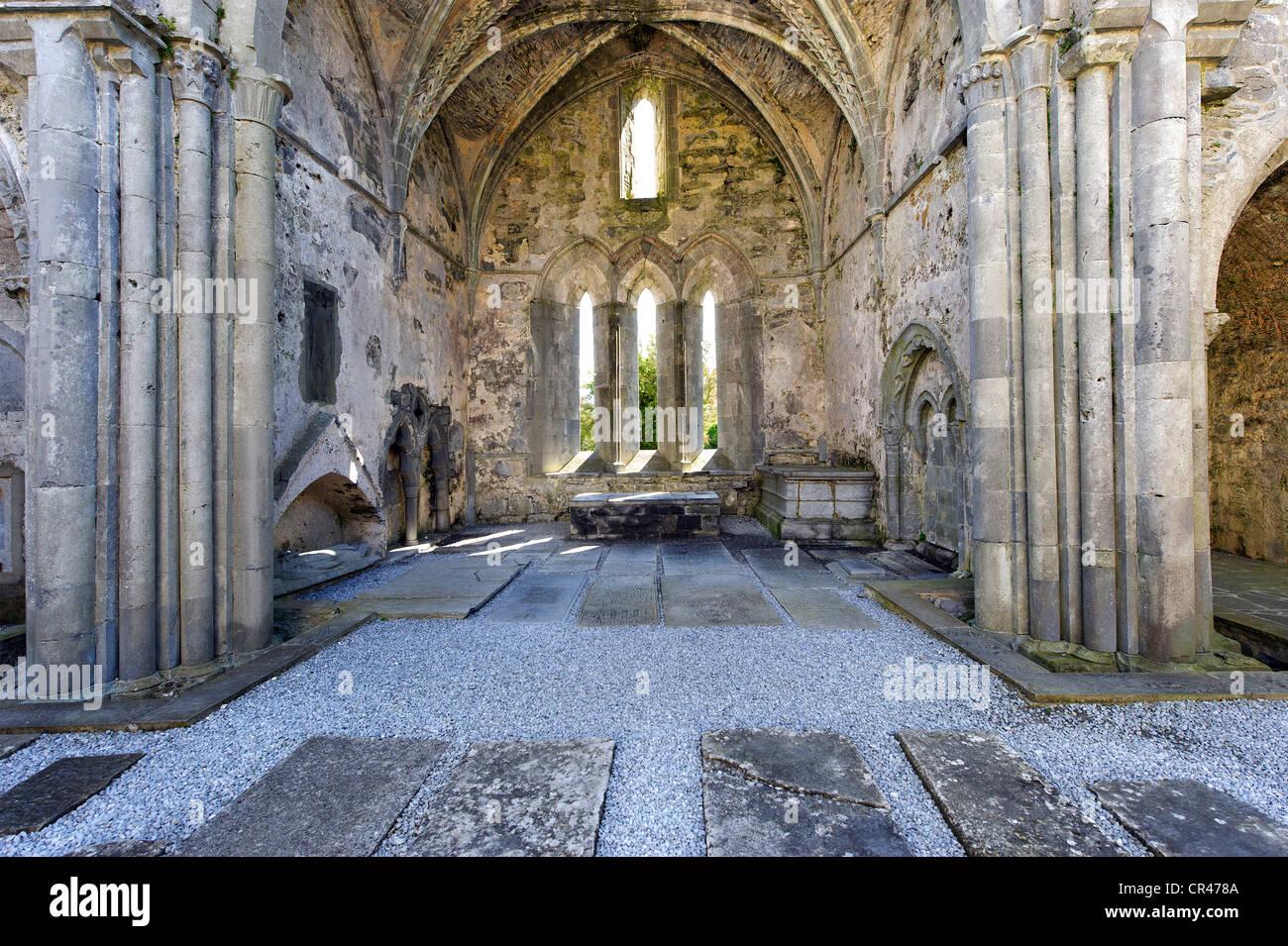 Corcomroe Abbey, Burren, County Clare, Ireland, Europe - Stock Image
