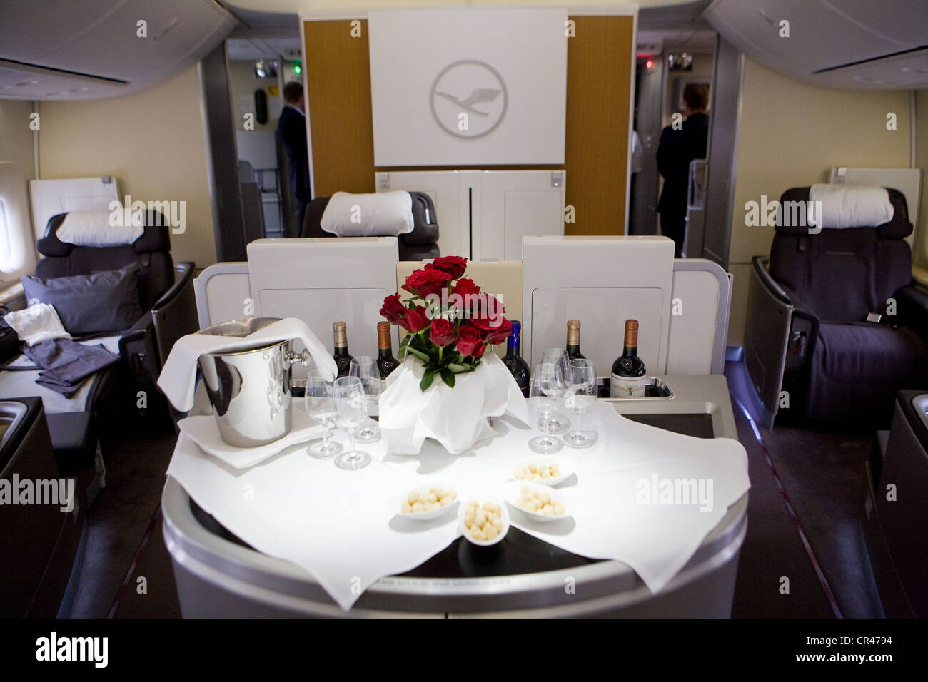 The First Class section of a Lufthansa Boeing 747-8. - Stock Image