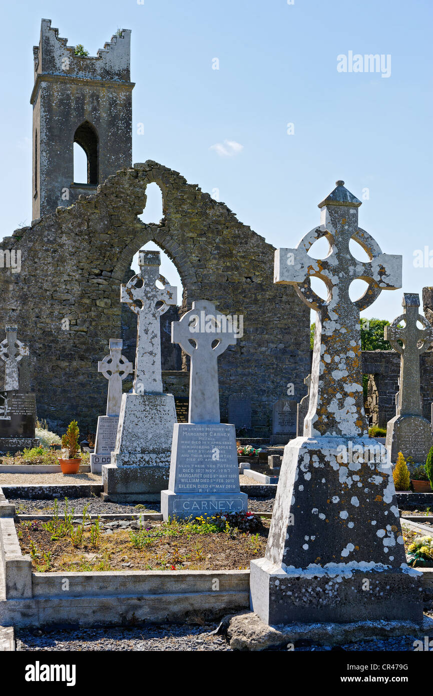 Graveyard with ruins of a church, Neale, County Mayo, Ireland, Europe - Stock Image