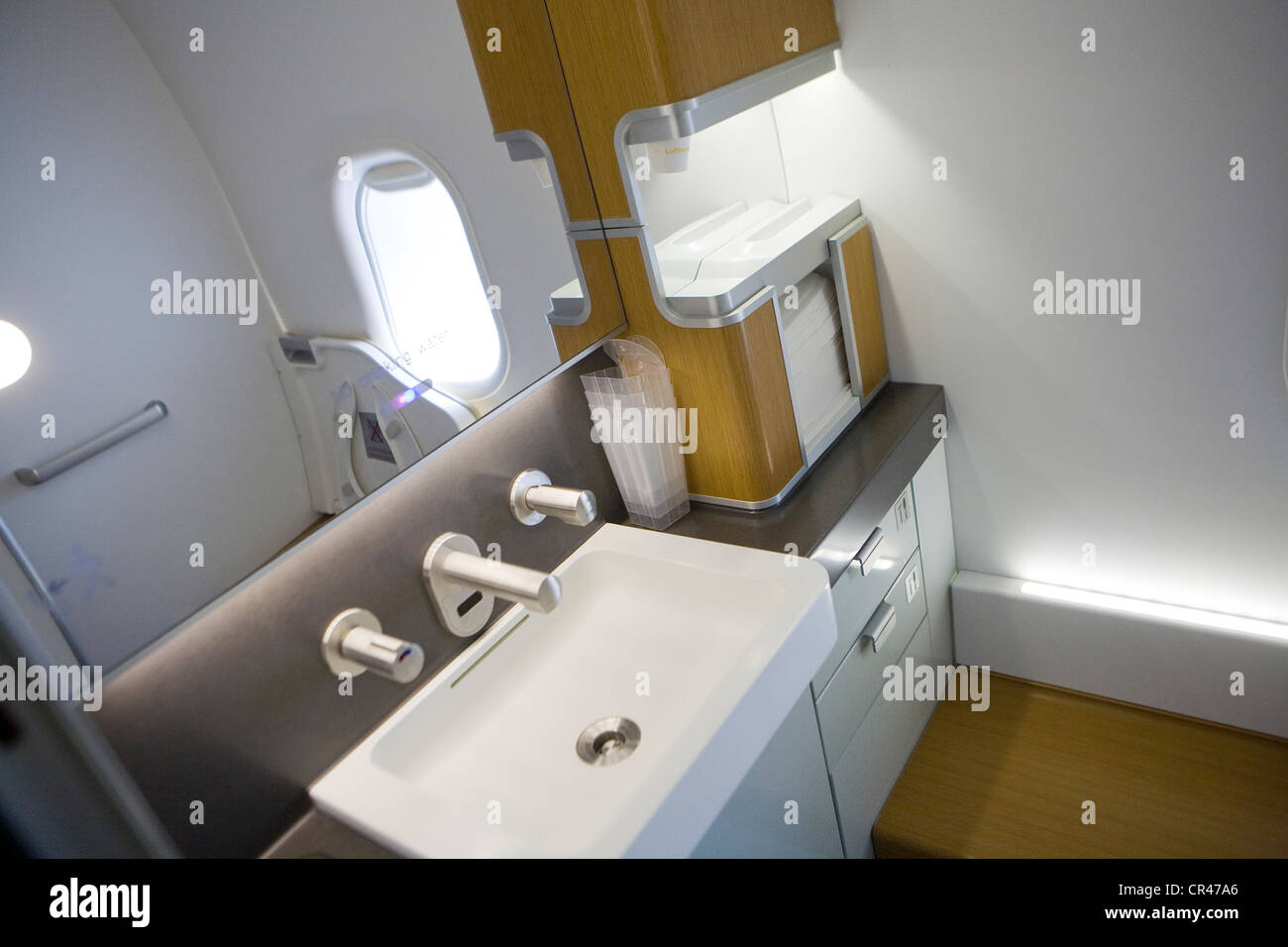 The Bathroom of a Lufthansa Boeing 747-8. - Stock Image