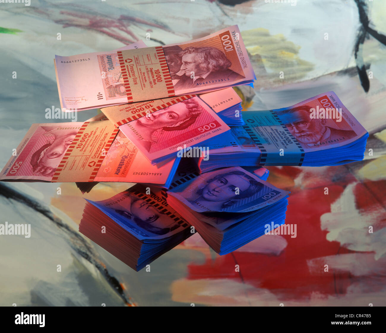 Bills, banknotes, German Mark or Deutsche Mark - Stock Image