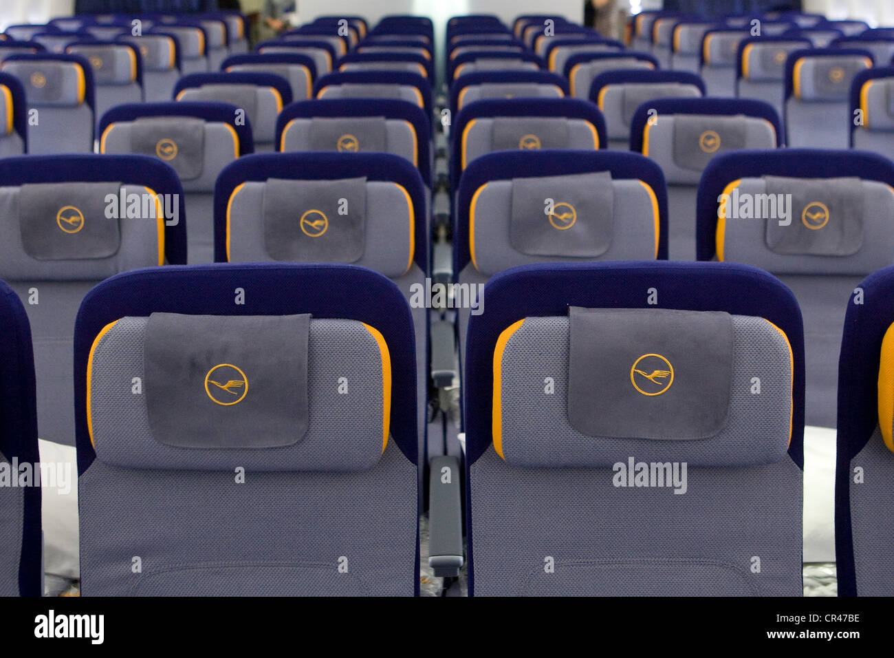 The Economy Class section of a Lufthansa Boeing 747-8. - Stock Image
