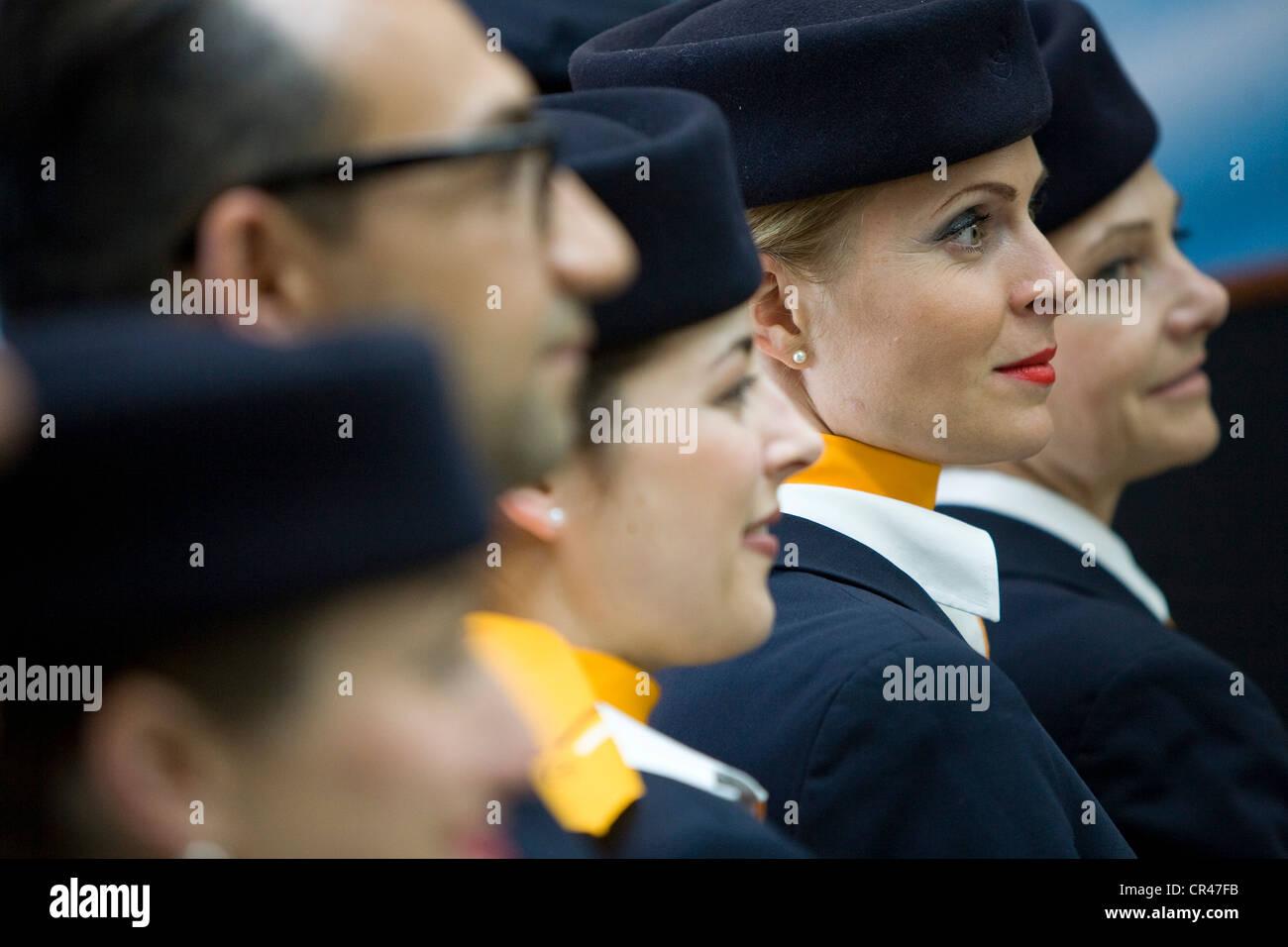 Lufthansa Airlines Flight Attendants.  - Stock Image