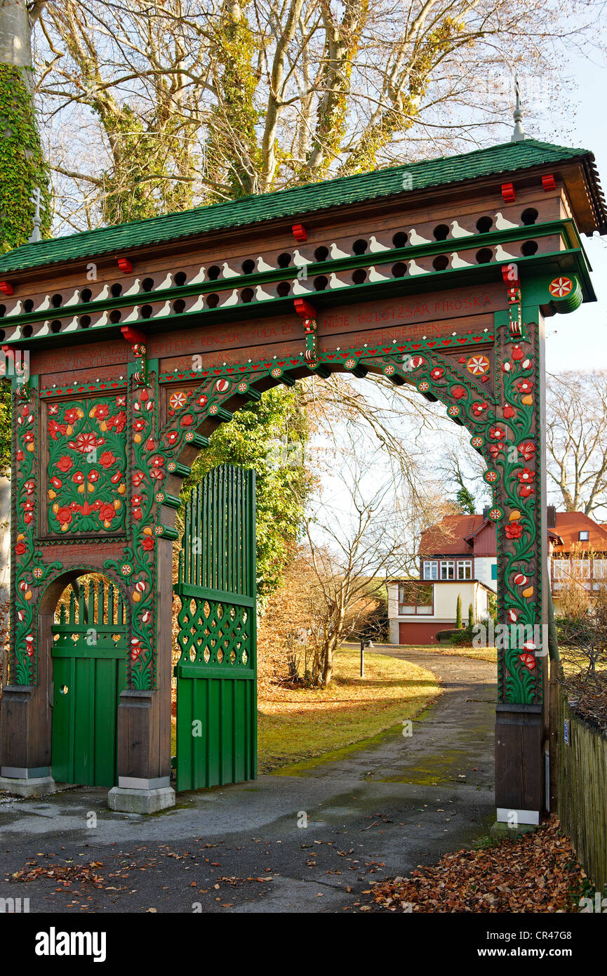 Hungarian Gate, house of the Waldemar Bonsel Foundation in Ambach, on Lake Starnberg, Five Lakes region, Upper Bavaria, - Stock Image