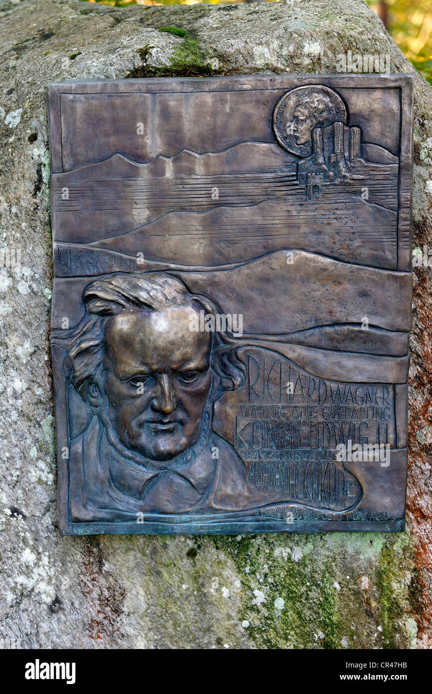 Memorial for the composer Richard Wagner on the way to Altlacher Hochkopf Mountain, Lake Walchensee, Upper Bavaria, - Stock Image