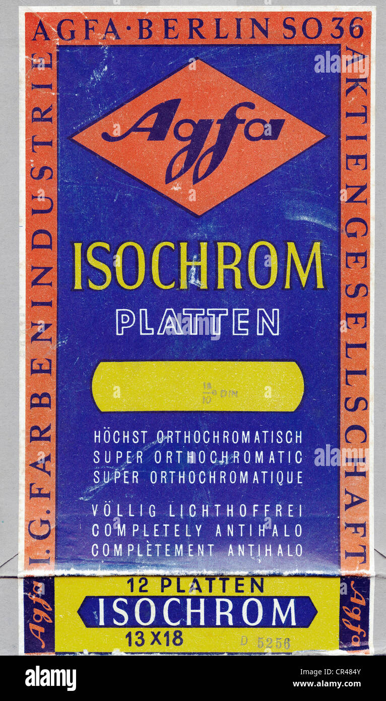 Box of Agfa Isochrom photographic plates, before 1945 - Stock Image